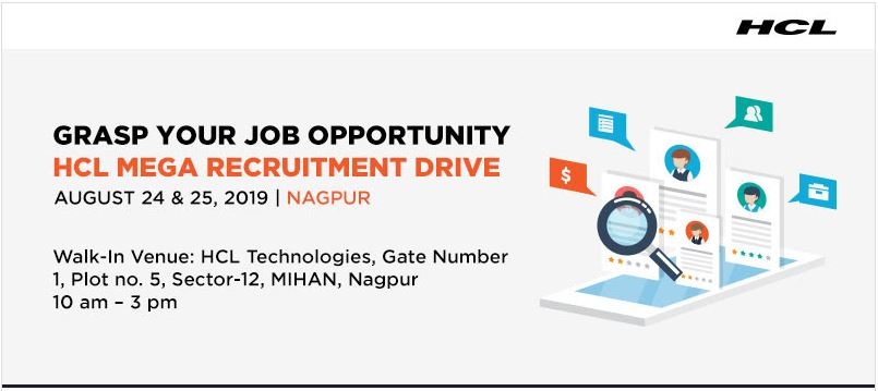 Photo of HCL Nagpur Fresher Recruitment Drive : 24 Aug 2019 – 25 Aug 2019