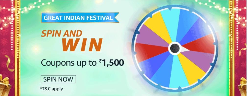 Amazon Great Indian Festival Spin And Win Quiz 29 October Win Coupons Up To Rs 1 500 Nagpur Oranges