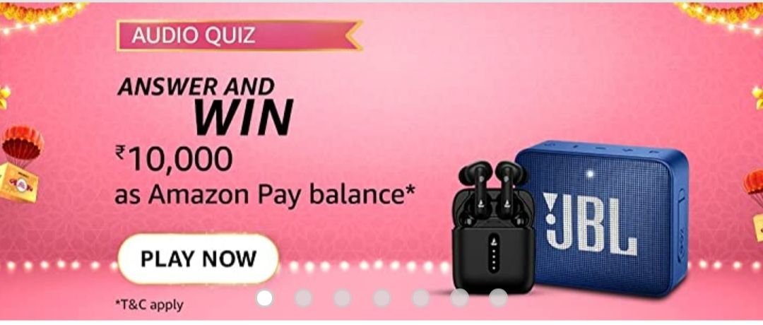 Amazon Audio Quiz answer and win 10000 as amazon pay balance