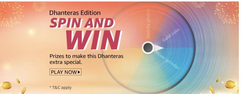 Amazon Dhanteras Edition Spin & Win Quiz 2nd Nov 2020 Answers