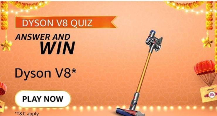 Amazon Dyson V8 Quiz Answers and Win Dyson V8