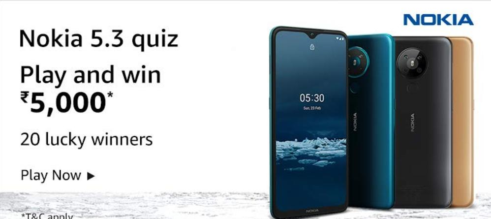 Amazon Nokia 5.3 Quiz Answers