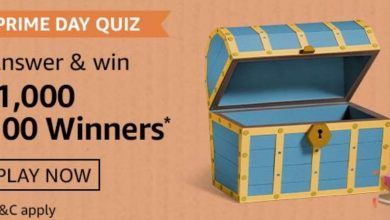 Amazon Prime Day Quiz Answers - 1000 Rs Pay Balance