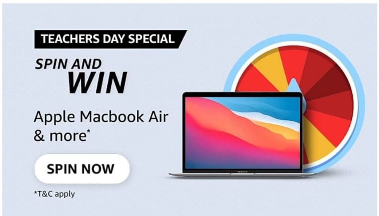 Amazon Teachers day special quiz spin and win