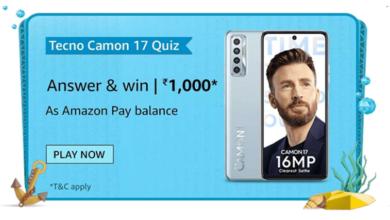 Amazon Tecno Camon 17 Quiz Answers