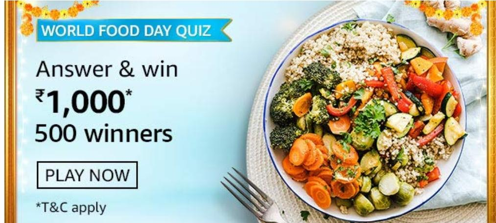 Amazon world food day quiz